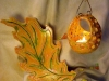 Blattschale und Teelichthalter hängend