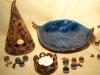 Teelichthalter Spitzhütchen + Teelichthalter Schnörkel + Schale in Blattform